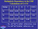multiplicity dependency in the uhf calculations of cr co