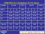 uhf sto 3g calculations m co cluster