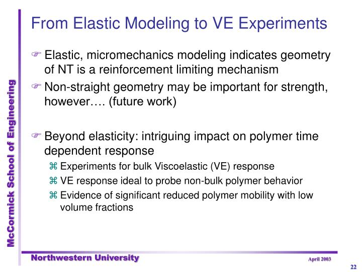 From Elastic Modeling to VE Experiments