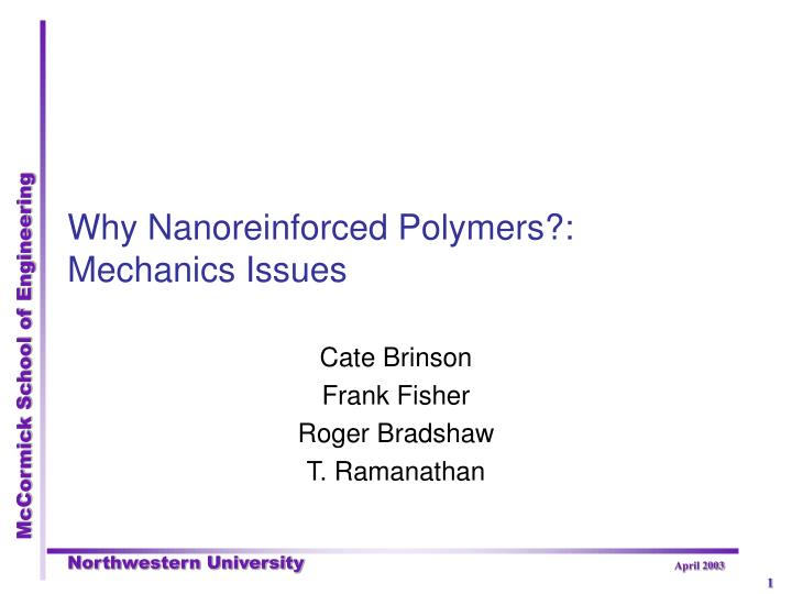 Why nanoreinforced polymers mechanics issues