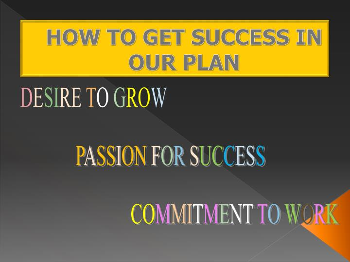 HOW TO GET SUCCESS IN OUR PLAN