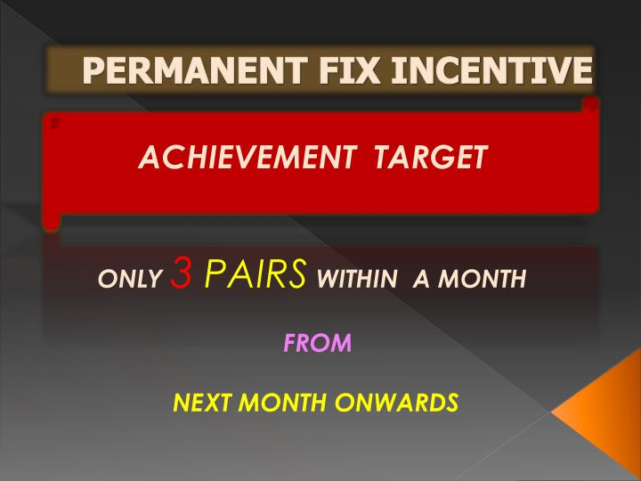 PERMANENT FIX INCENTIVE
