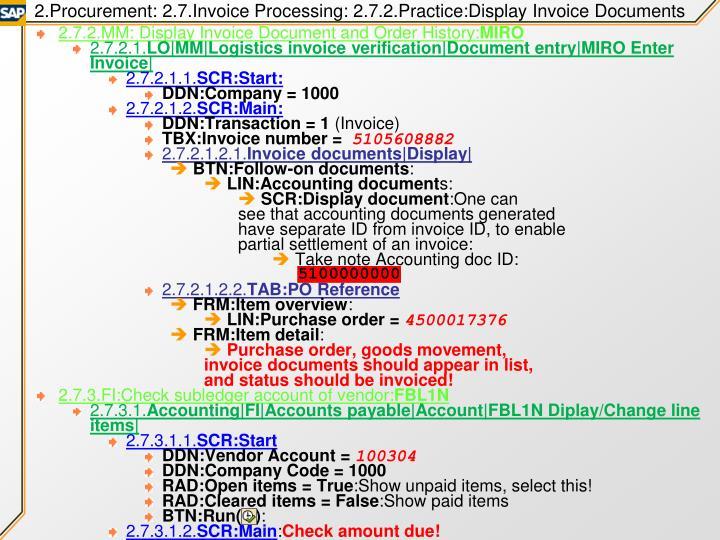 2.Procurement: 2.7.Invoice Processing: 2.7.2.Practice:Display Invoice Documents