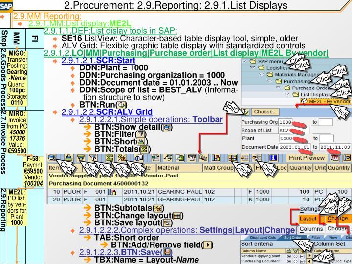 2.Procurement: 2.9.Reporting: 2.9.1.List Displays