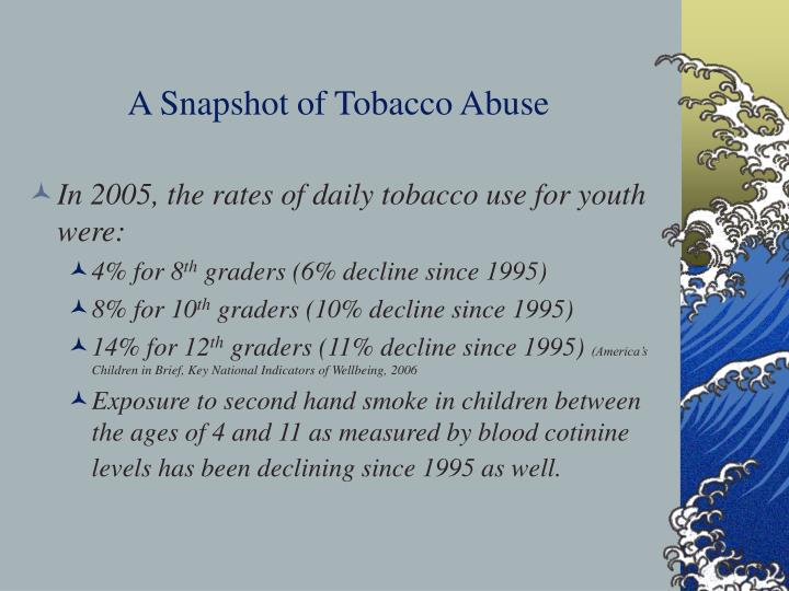 A snapshot of tobacco abuse