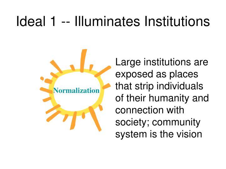 Ideal 1 -- Illuminates Institutions