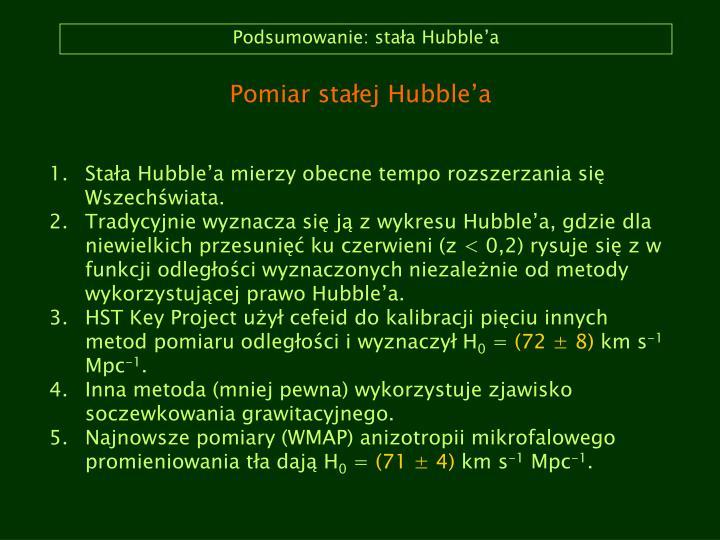 Podsumowanie: stała Hubble'a