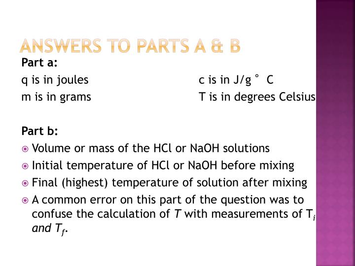Answers to Parts a &