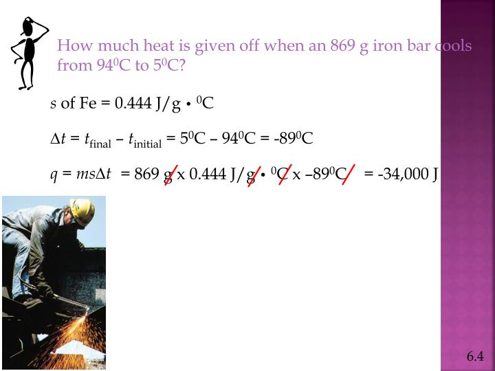How much heat is given off when an 869 g iron bar cools from 94