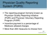physician quality reporting system pqrs