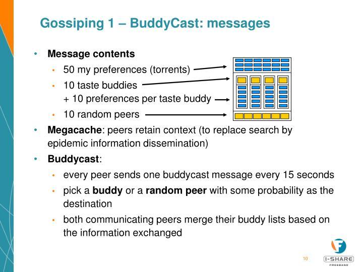 Gossiping 1 – BuddyCast: messages