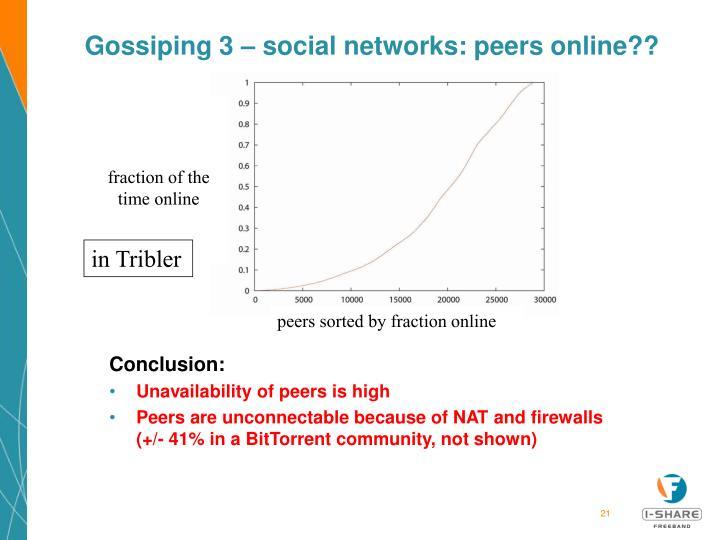Gossiping 3 – social networks: peers online??