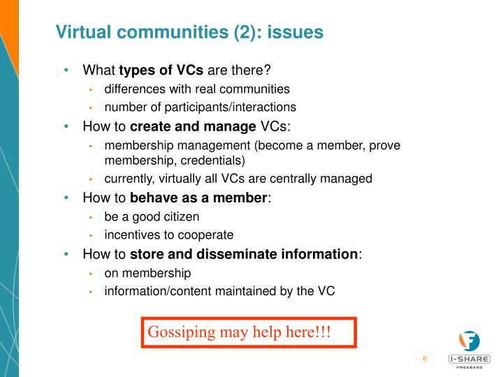 Virtual communities (2): issues