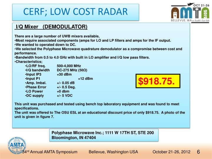 CERF; LOW COST RADAR
