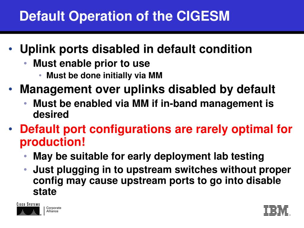 PPT - Cisco Systems Intelligent Gigabit Ethernet Switch Module for
