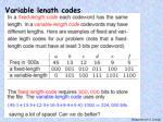 variable length codes