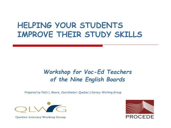 helping your students improve their study skills n.