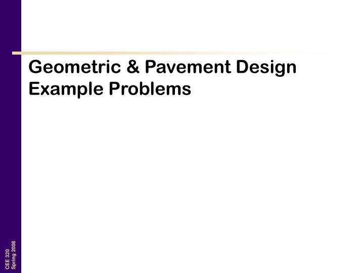 geometric pavement design example problems n.