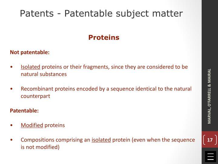 Patents - Patentable subject matter