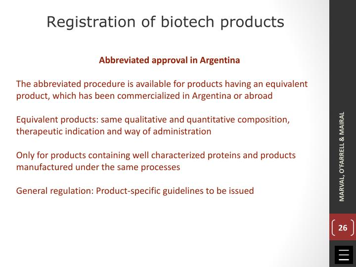 Registration of biotech products