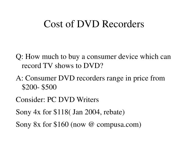 Cost of DVD Recorders