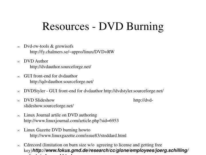 Resources - DVD Burning