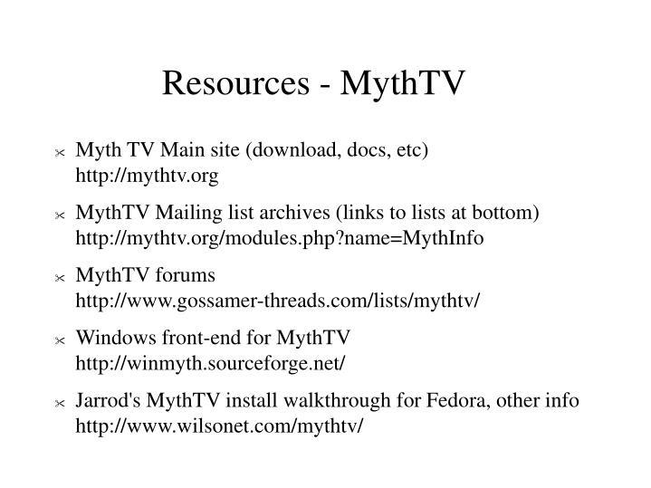 Resources - MythTV