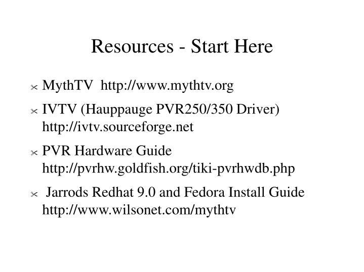 Resources - Start Here