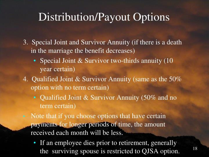 Distribution/Payout Options