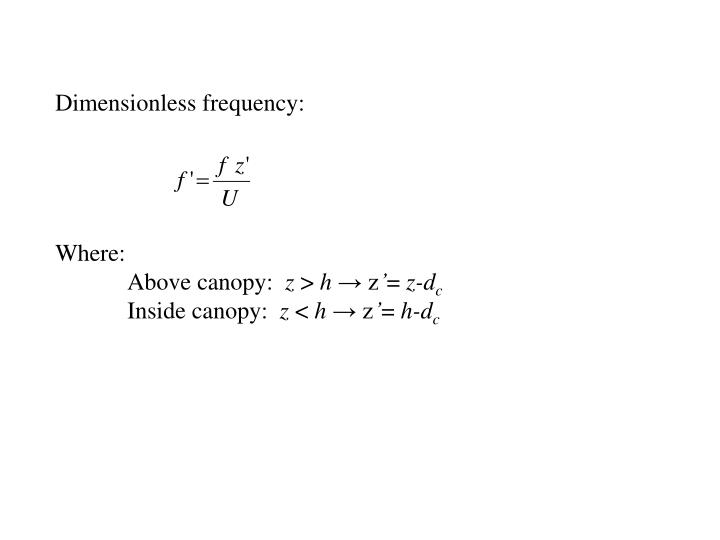 Dimensionless frequency: