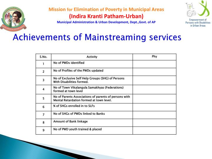 Achievements of Mainstreaming services