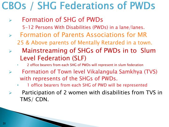 CBOs / SHG Federations of PWDs