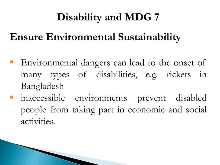 Disability and MDG 7