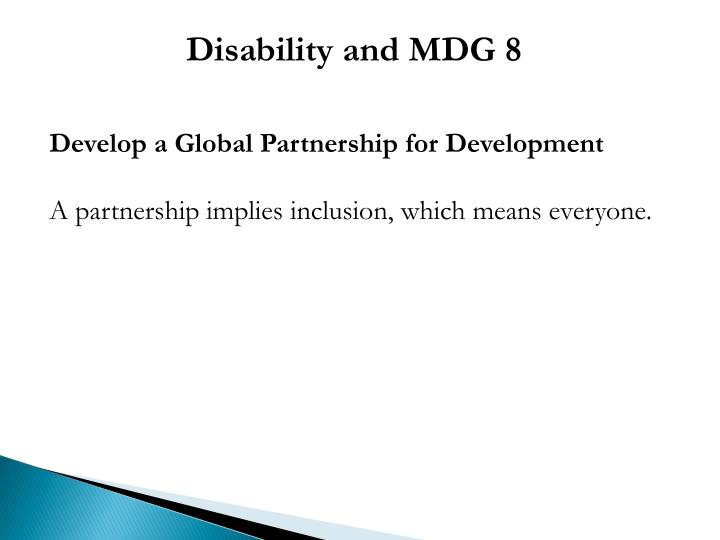 Disability and MDG 8