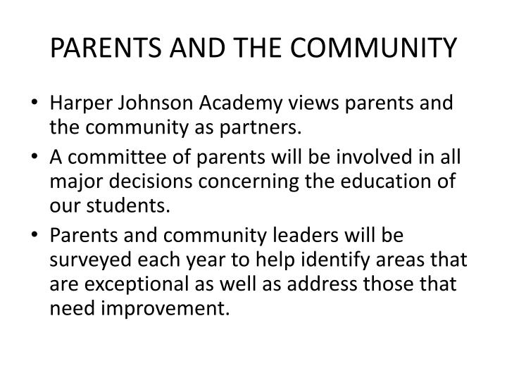 PARENTS AND THE COMMUNITY