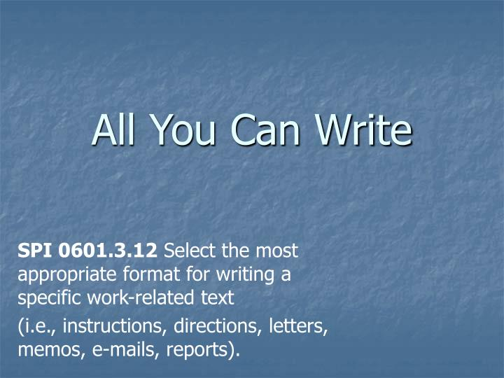 all you can write n.