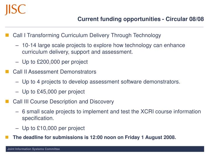 Current funding opportunities - Circular 08/08