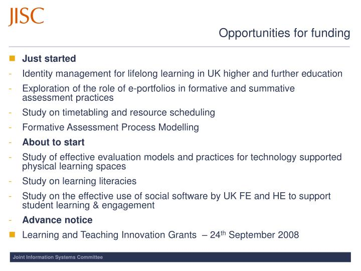Opportunities for funding