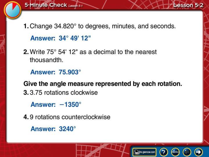 5-Minute Check Lesson 5-2A