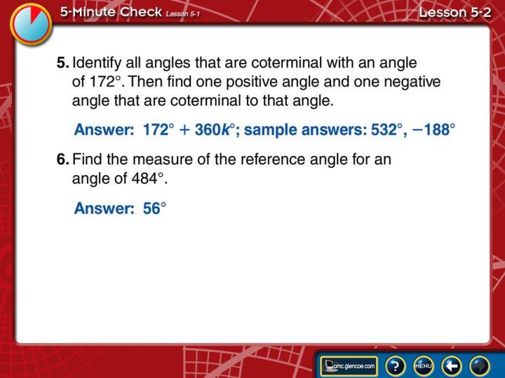 5-Minute Check Lesson 5-2B