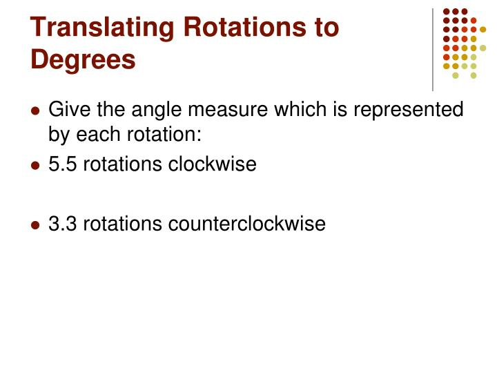Translating Rotations to Degrees