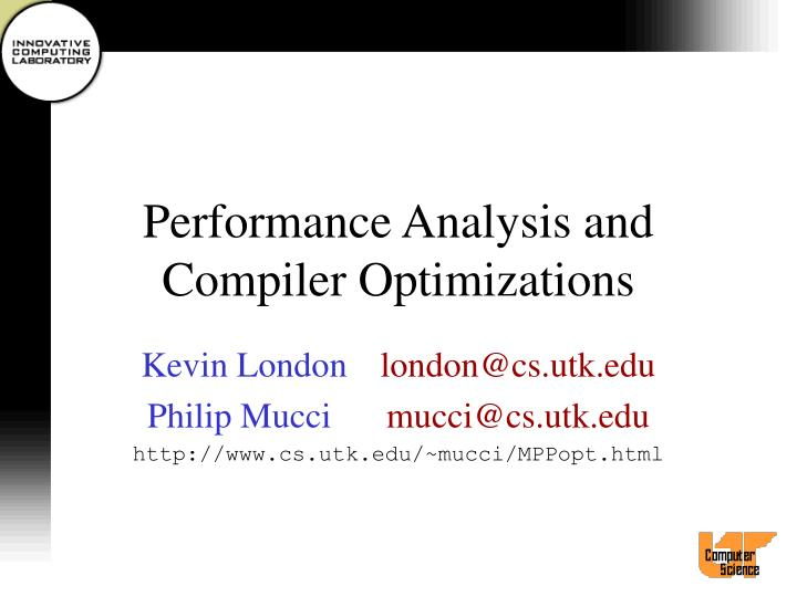 performance analysis and compiler optimizations n.