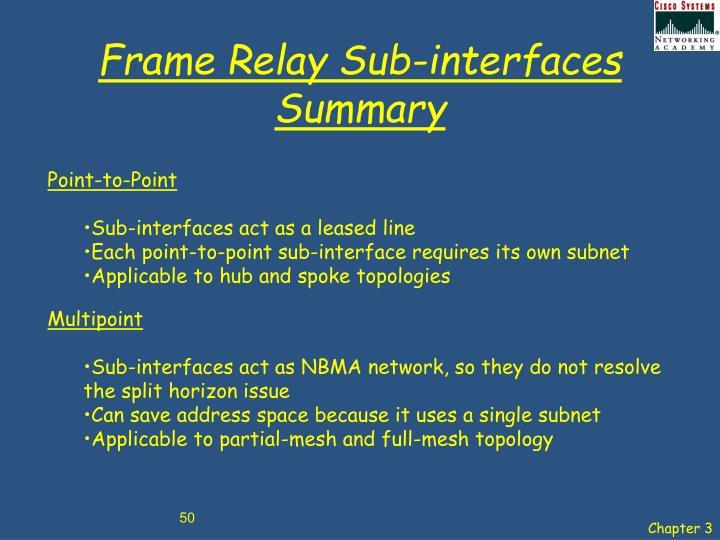 Frame Relay Sub-interfaces