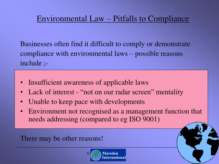 Environmental law pitfalls to compliance