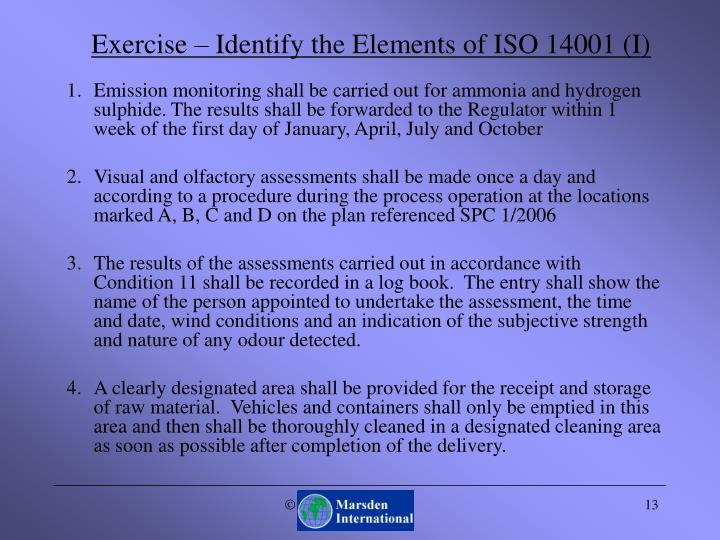 Exercise – Identify the Elements of ISO 14001 (I)