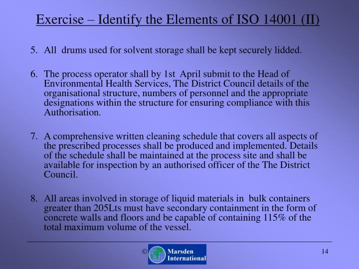 Exercise – Identify the Elements of ISO 14001 (II)
