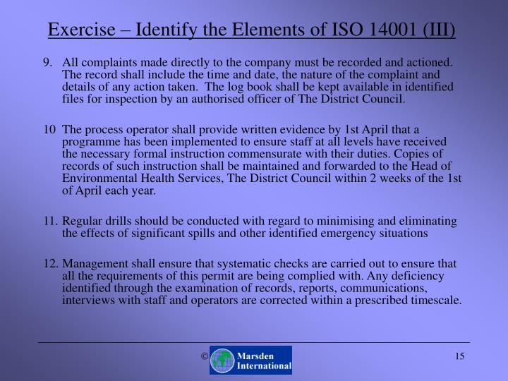 Exercise – Identify the Elements of ISO 14001 (III)