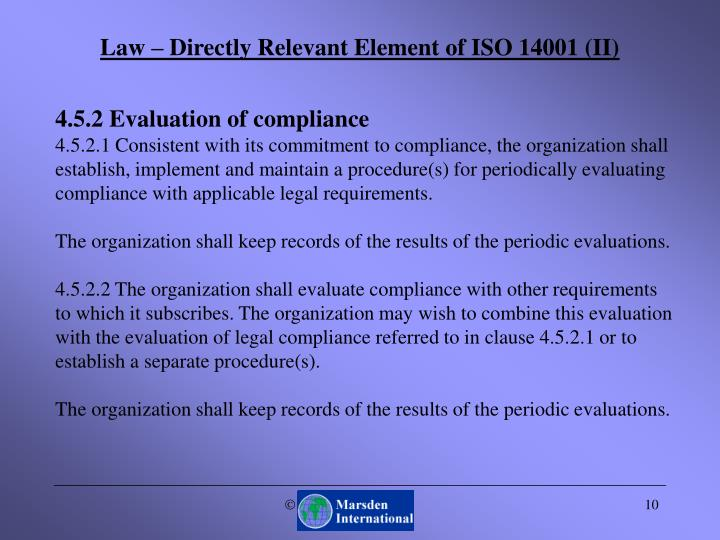 Law – Directly Relevant Element of ISO 14001 (II)