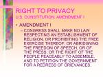 right to privacy u s constitution amendment i