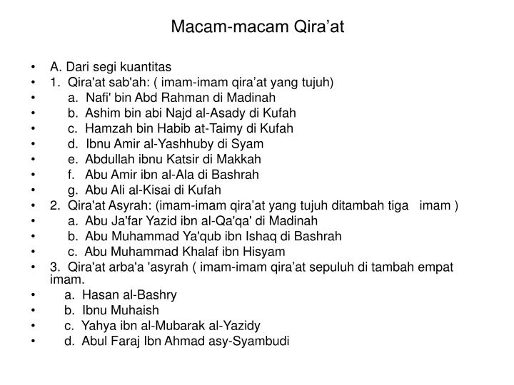 Macam-macam Qira'at